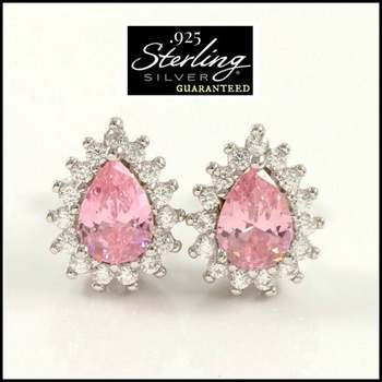 .925 Sterling Silver Created Pink Topaz & White Sapphire Earrings