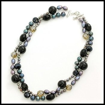 .925 Sterling Silver, Double Strand 5-10mm Pearl, Black Onyx & Smoky Quartz Necklace