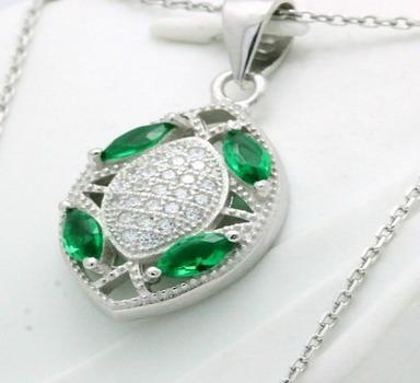 .925 Sterling Silver, Emerald & AAA Grade Australian Cz's Necklace