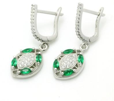 .925 Sterling Silver, Emerald & AAA Grade Australian Cz's Vintage Style Earrings