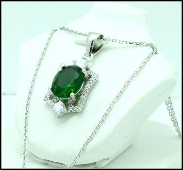 .925 Sterling Silver, Emerald & AAA Grade Australian Cz's Vintage Style Necklace