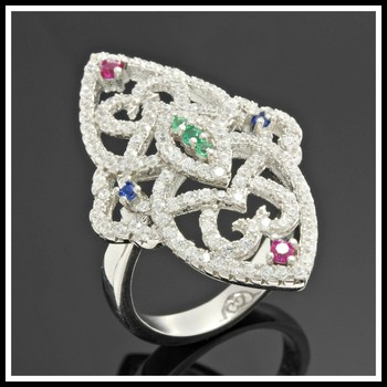 .925 Sterling Silver, Emerald, Blue & Pink Sapphire Ring  size 6