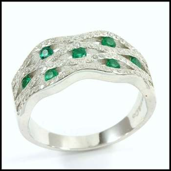 .925 Sterling Silver Emerald & Cubic Zirconia Ring Size 7