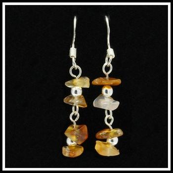 .925 Sterling Silver Genuine Amber Dangle Earrings
