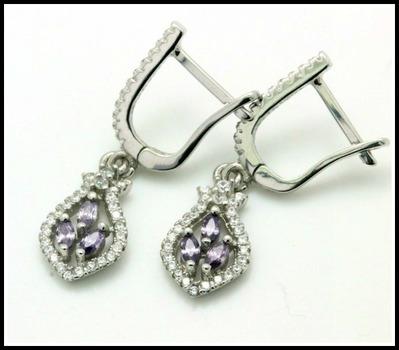 .925 Sterling Silver, Genuine Amethyst & AAA Grade Australian Cz's Earrings