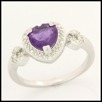 .925 Sterling Silver Genuine Amethyst with Diamond Accent Ring Size 7