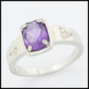 .925 Sterling Silver Genuine Amethyst with Diamond Accent Ring Size 8