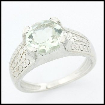 .925 Sterling Silver Genuine Green Amethyst Ring Size 6