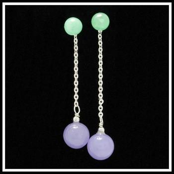.925 Sterling Silver Genuine Jade Earrings