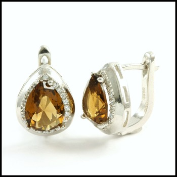 .925 Sterling Silver Genuine Smokey Topaz Earrings