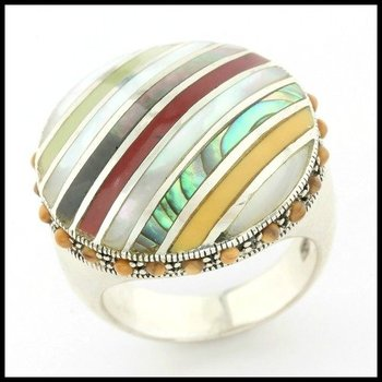 .925 Sterling Silver Genuine Tiger Eye, Mother of Pearl & Colored Enamel Ring Size 7