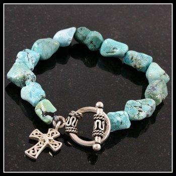925 Sterling Silver, Genuine Turquoise Bracelet