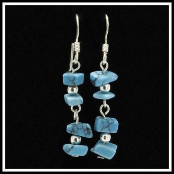 .925 Sterling Silver Genuine Turquoise Dangle Earrings