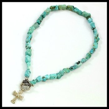 925 Sterling Silver, Genuine Turquoise Necklace