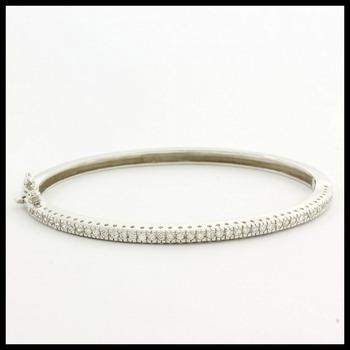 .925 Sterling Silver Genuine White Topaz Bangle Bracelet