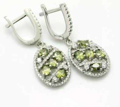 .925 Sterling Silver, Green Tourmaline & AAA Grade Australian Cz's Earrings