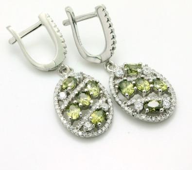 .925 Sterling Silver, Green Tourmaline & AAA Grade Australian Cz's Earrings