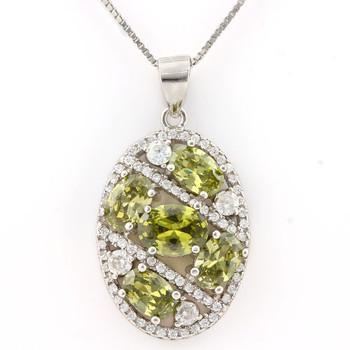 .925 Sterling Silver, Green Tourmaline & AAA Grade Australian Cz's Necklace