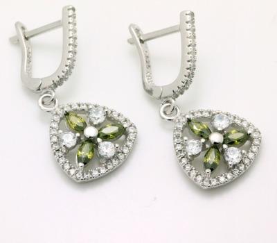 .925 Sterling Silver, Green Tourmaline & AAA Grade Australian Cz's Vintage Style Earrings