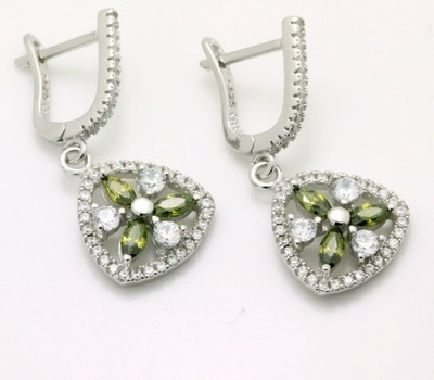 .925 Sterling Silver, Green Tourmaline & AAA Grade Australian Cz's Vintage Style Earrings
