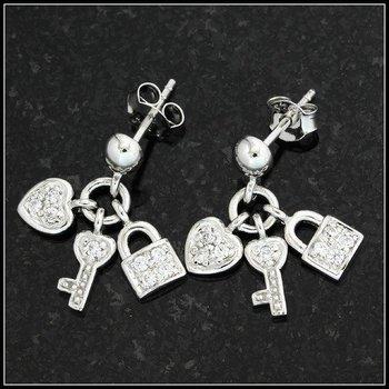 """.925 Sterling Silver """"Key to My Heart"""" Dangle Earrings"""