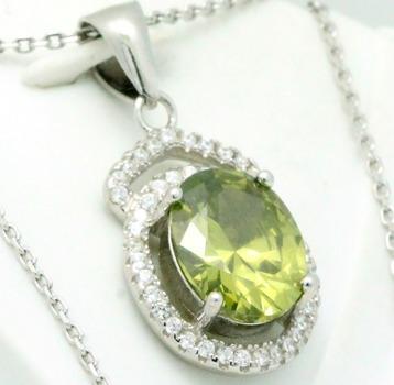 .925 Sterling Silver, Peridot & AAA Grade Australian Cz's Necklace