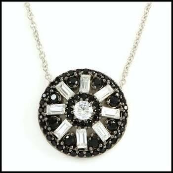 .925 Sterling Silver & Platinum Overlay Black Spinel & White Topaz Necklace