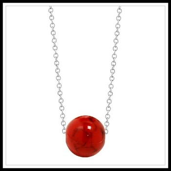 .925 Sterling Silver Red Turquoise Necklace