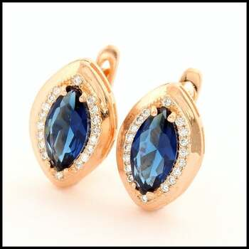 .925 Sterling Silver & Rose Gold Plated, Blue & White Sapphire Earrings