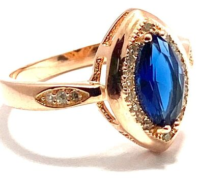 .925 Sterling Silver & Rose Gold Plated,  Blue & White Sapphire Ring Size 7