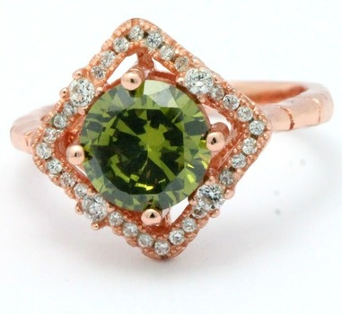 .925 Sterling Silver Rose Gold  Plated, Green Tourmaline & Australian Cubic Zirconia Ring Size 7