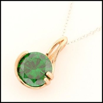 .925 Sterling Silver Rose&White Gold Plated Emerald Necklace with Pendant