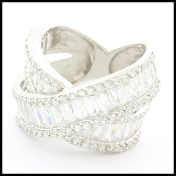 .925 Sterling Silver Round & Baguette Cut White Topaz Ring Size 6