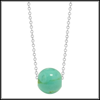 .925 Sterling Silver Round Turquoise Necklace