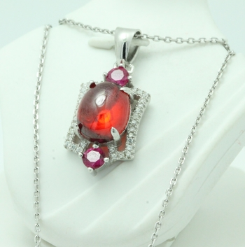 .925 Sterling Silver, Ruby & AAA Grade Australian Cz's Vintage Style Necklace