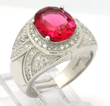 .925 Sterling Silver, Ruby & AAA Grade Australian Cz's Vintage Style Ring   size 7