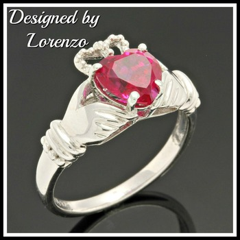 .925 Sterling Silver & Ruby Designer Authentic ColoreSG by LORENZO Ring sz 7