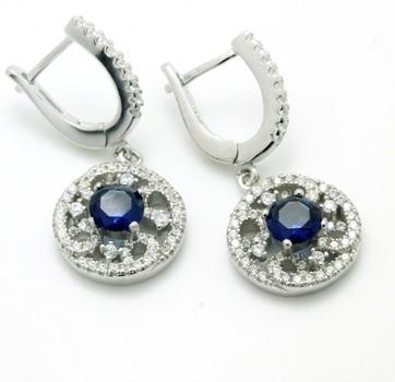 .925 Sterling Silver, Sapphire & AAA Grade Australian Cz's Earrings