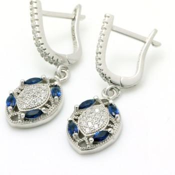 .925 Sterling Silver, Sapphire & AAA Grade Australian Cz's Vintage Style Earrings