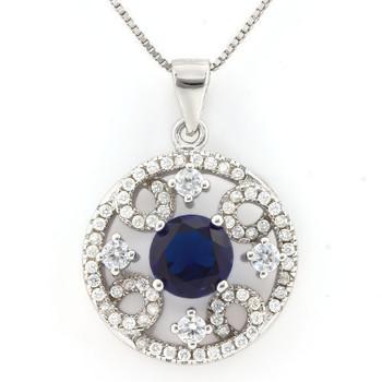 .925 Sterling Silver, Sapphire & AAA Grade Australian Cz's Vintage Style Necklace