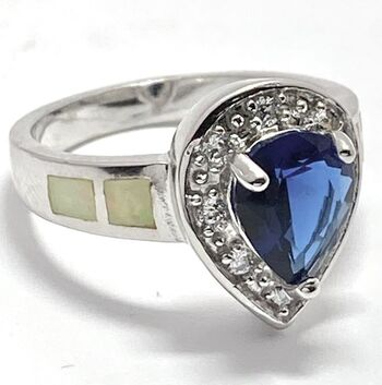 .925 Sterling Silver Sapphire & Opal Ring Size 8