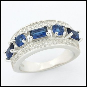 .925 Sterling Silver Sapphire Ring Size 7