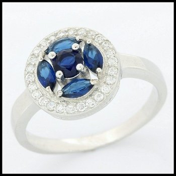 .925 Sterling Silver Sapphire Ring Size 8