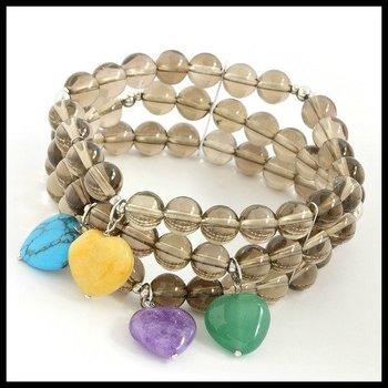 .925 Sterling Silver, Smoky Quartz Multi Strand Stretch Bracelet with Heart Shape Charms