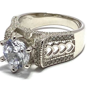 .925 Sterling Silver & White Gold Overlay Diamonique Engagement Ring Size 7
