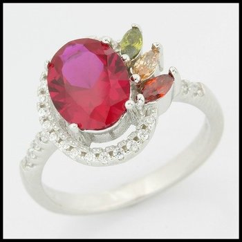 .925 Sterling Silver & White Gold Overlay Ruby, Citrine, Peridot & White Sapphire Ring Size 6