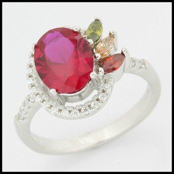 .925 Sterling Silver & White Gold Overlay Ruby, Citrine, Peridot & White Sapphire Ring Size 8