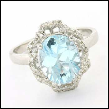 .925 Sterling Silver & White Gold Plated, 0.01ctw Genuine Diamond & Blue Topaz  Ring Size 7