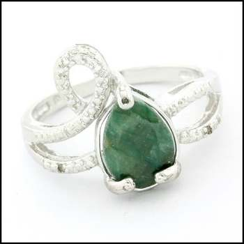 .925 Sterling Silver White Gold Plated, 0.01ctw Genuine Diamond & Dyed Emerald Ring Size 7
