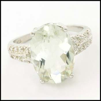 .925 Sterling Silver & White Gold Plated,  0.01ctw Genuine Diamond & Green Amethyst Ring Size 7